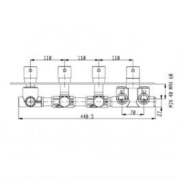 RU005X00Q AquaElite встроенная часть термостатического смесителя на 5 потребителей