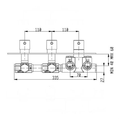 RU002X00Q AquaElite встроенная часть термостатического смесителя на 2 потребителя - фото 8695