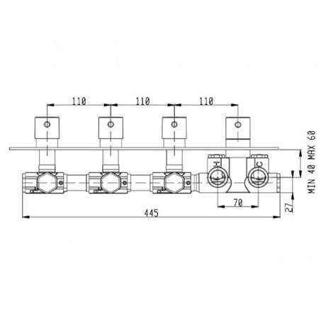 RU003X00Q AquaElite встроенная часть термостатического смесителя на 3 потребителя - фото 8696