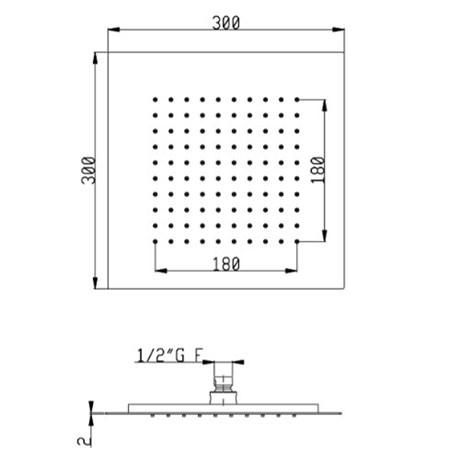 SF089AXX AquaElite верхний душ, 300x300 мм, h.2 мм - фото 9760
