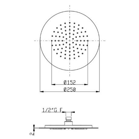 SF093AXX AquaElite верхний душ, ø 250 мм, h.2 мм - фото 9848