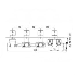 RU004X00Q AquaElite встроенная часть термостатического смесителя на 4 потребителя